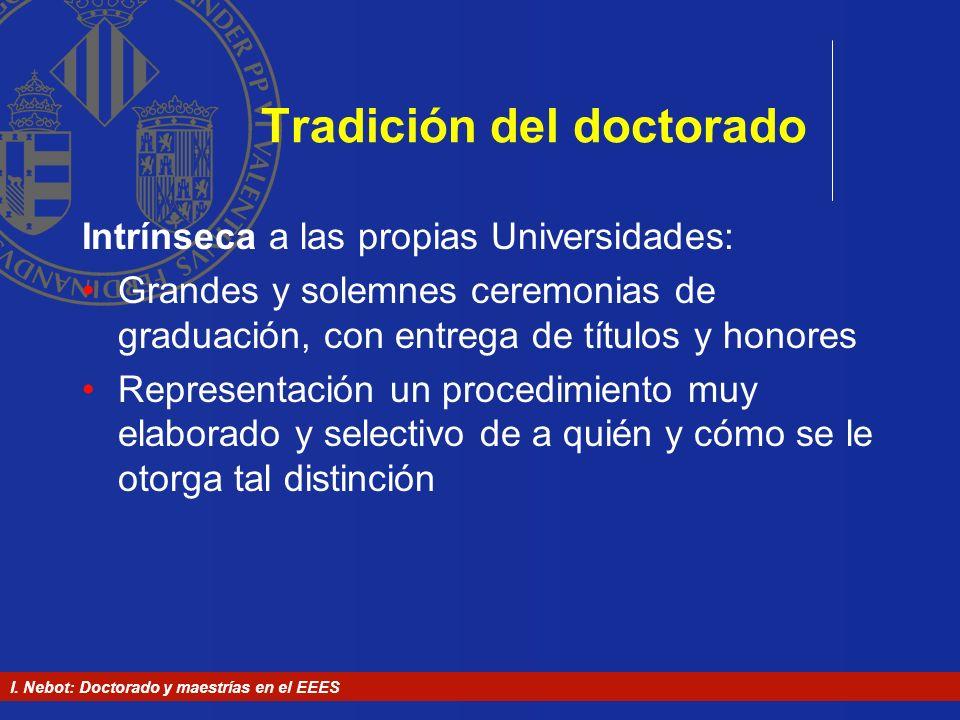 I. Nebot: Doctorado y maestrías en el EEES Tradición del doctorado Intrínseca a las propias Universidades: Grandes y solemnes ceremonias de graduación