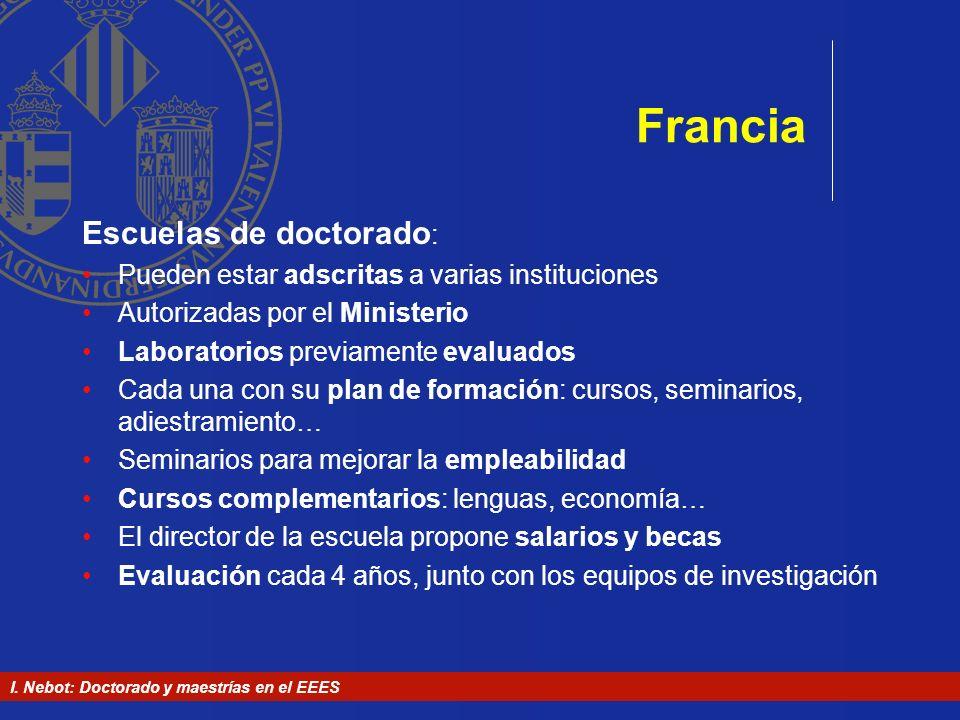 I. Nebot: Doctorado y maestrías en el EEES Francia Escuelas de doctorado : Pueden estar adscritas a varias instituciones Autorizadas por el Ministerio