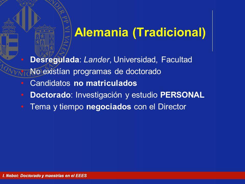 I. Nebot: Doctorado y maestrías en el EEES Alemania (Tradicional) Desregulada: Lander, Universidad, Facultad No existían programas de doctorado Candid