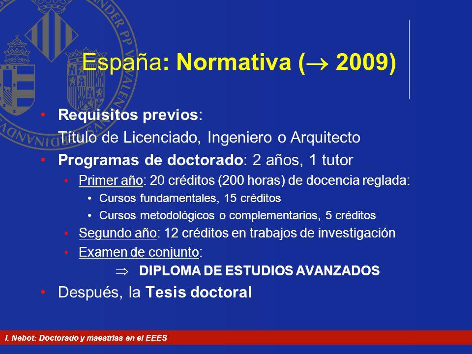 I. Nebot: Doctorado y maestrías en el EEES España: Normativa ( 2009) Requisitos previos: Título de Licenciado, Ingeniero o Arquitecto Programas de doc