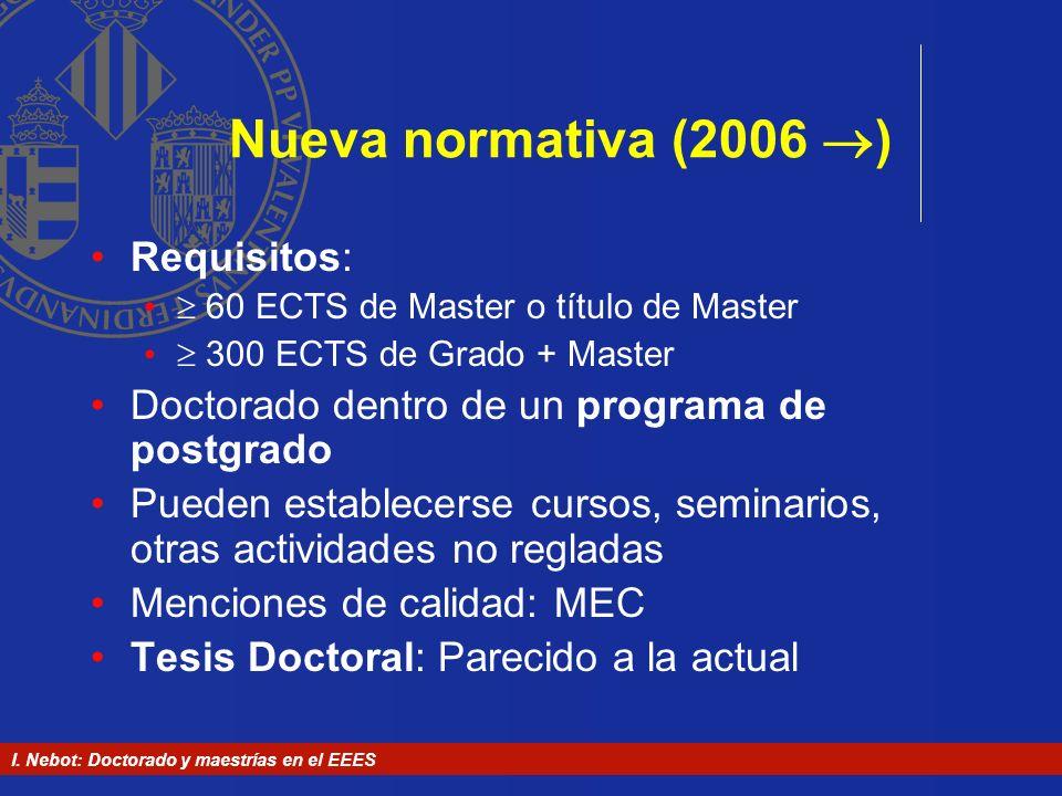 I. Nebot: Doctorado y maestrías en el EEES Nueva normativa (2006 ) Requisitos: 60 ECTS de Master o título de Master 300 ECTS de Grado + Master Doctora