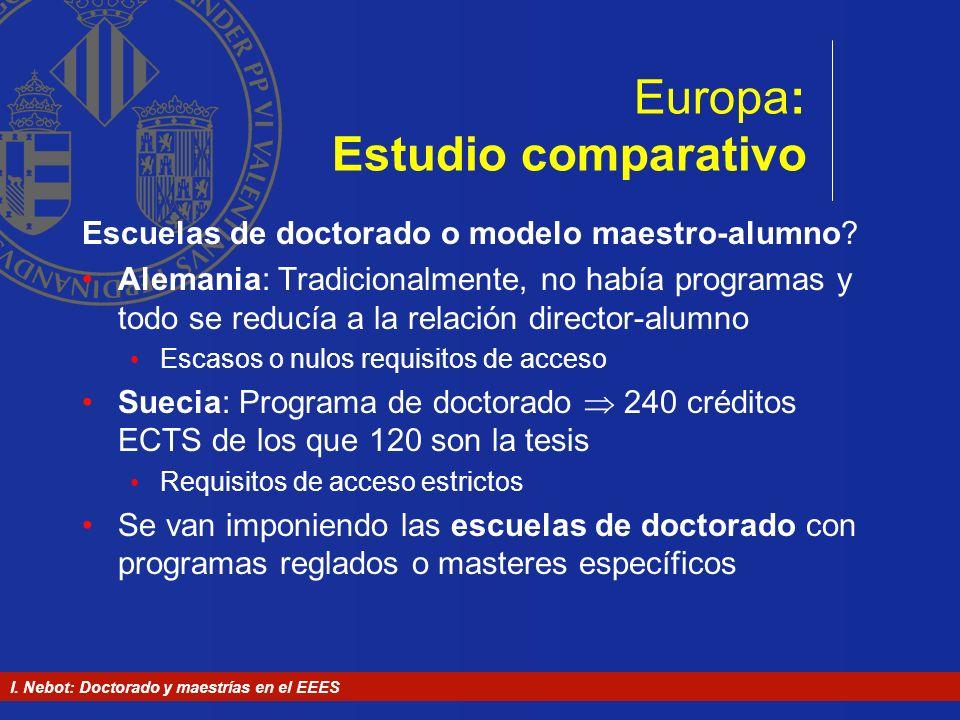 I. Nebot: Doctorado y maestrías en el EEES Europa: Estudio comparativo Escuelas de doctorado o modelo maestro-alumno? Alemania: Tradicionalmente, no h