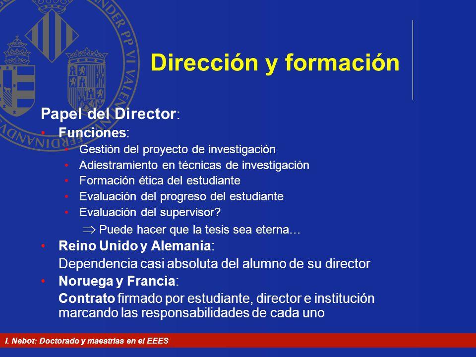 I. Nebot: Doctorado y maestrías en el EEES Dirección y formación Papel del Director : Funciones: Gestión del proyecto de investigación Adiestramiento