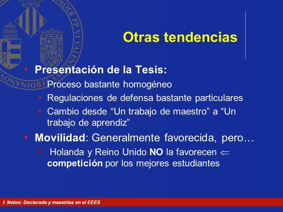 I. Nebot: Doctorado y maestrías en el EEES Otras tendencias Presentación de la Tesis: Proceso bastante homogéneo Regulaciones de defensa bastante part