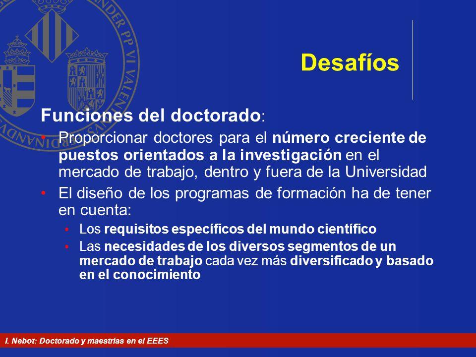 I. Nebot: Doctorado y maestrías en el EEES Desafíos Funciones del doctorado : Proporcionar doctores para el número creciente de puestos orientados a l