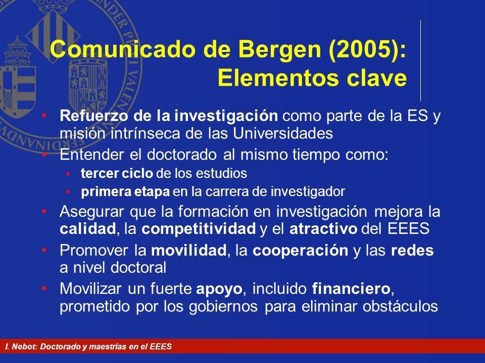I. Nebot: Doctorado y maestrías en el EEES Comunicado de Bergen (2005): Elementos clave Refuerzo de la investigación como parte de la ES y misión intr