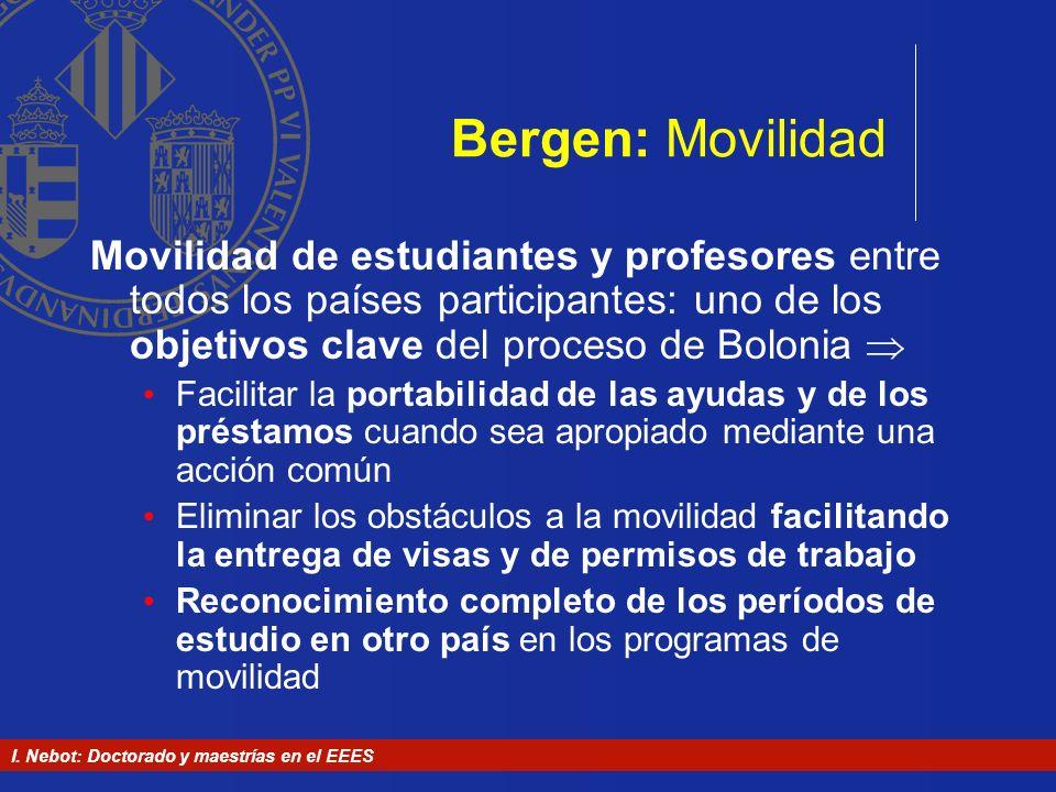 I. Nebot: Doctorado y maestrías en el EEES Bergen: Movilidad Movilidad de estudiantes y profesores entre todos los países participantes: uno de los ob