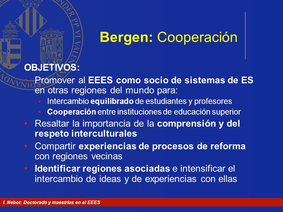 I. Nebot: Doctorado y maestrías en el EEES Bergen: Cooperación OBJETIVOS: Promover al EEES como socio de sistemas de ES en otras regiones del mundo pa