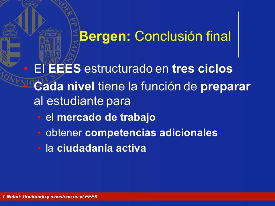 I. Nebot: Doctorado y maestrías en el EEES Bergen: Conclusión final El EEES estructurado en tres ciclos Cada nivel tiene la función de preparar al est
