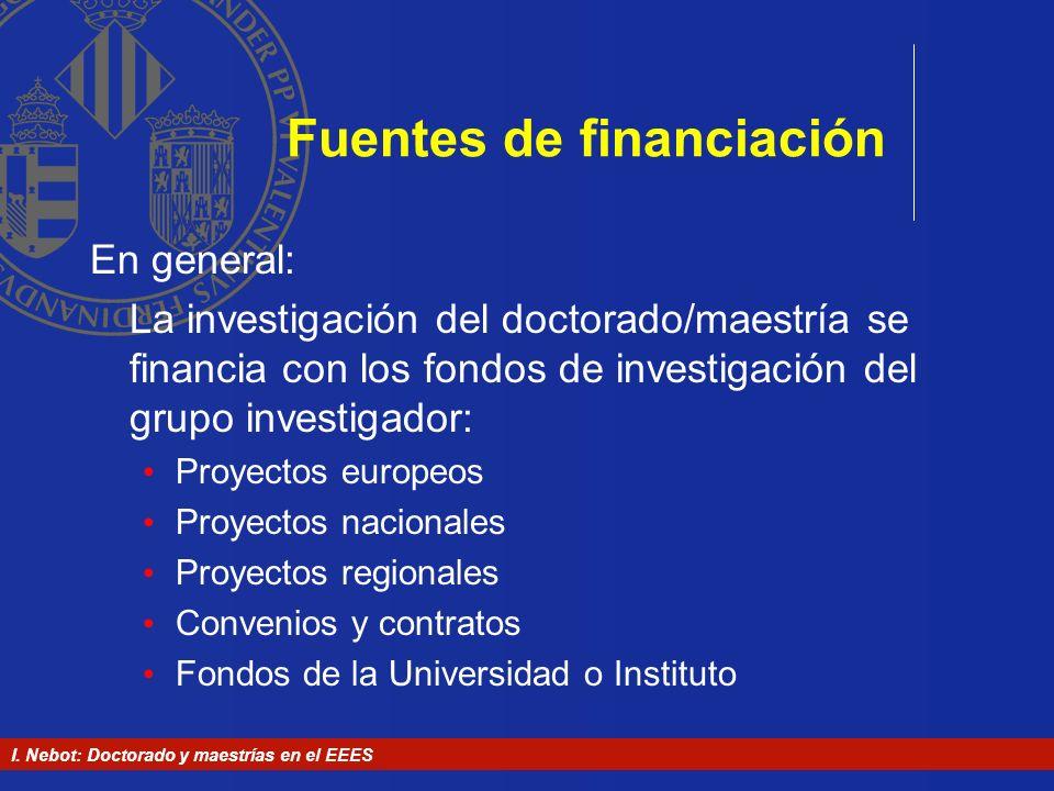 I. Nebot: Doctorado y maestrías en el EEES Fuentes de financiación En general: La investigación del doctorado/maestría se financia con los fondos de i