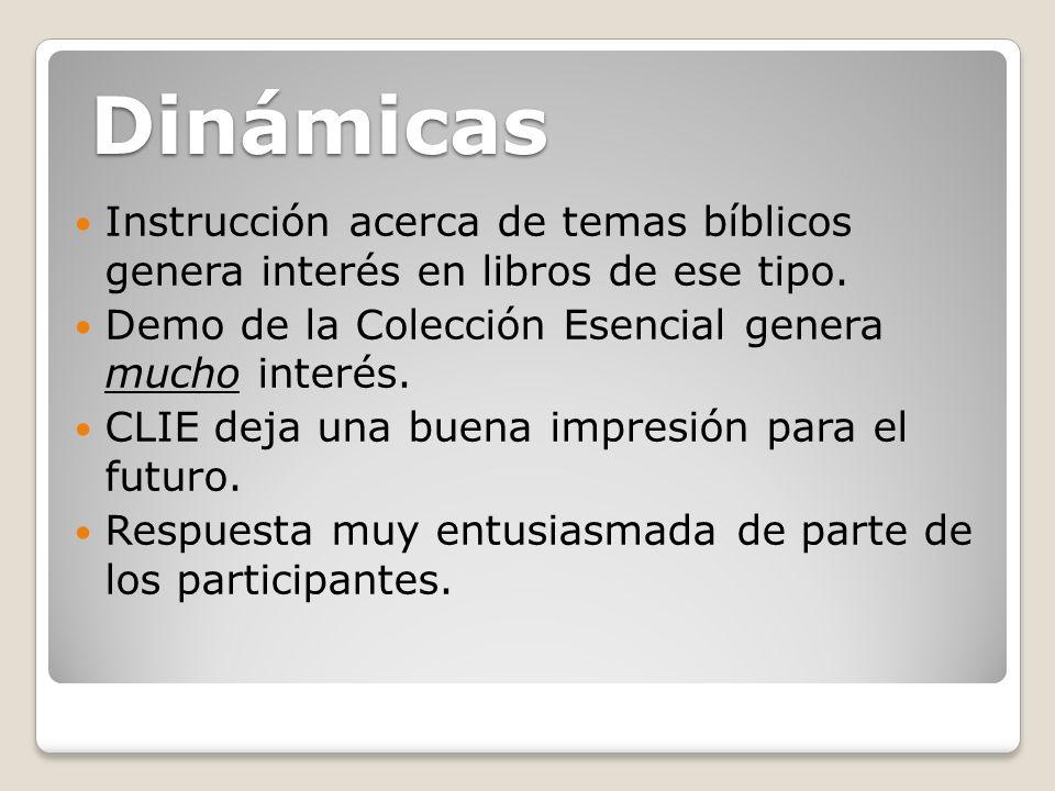 Instrucción acerca de temas bíblicos genera interés en libros de ese tipo. Demo de la Colección Esencial genera mucho interés. CLIE deja una buena imp