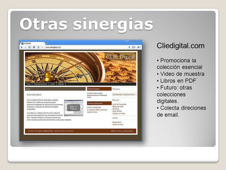 Otras sinergias Cliedigital.com Promociona la colección esencial Video de muestra Libros en PDF Futuro: otras colecciones digitales. Colecta direcione