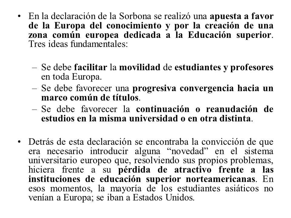 En la declaración de la Sorbona se realizó una apuesta a favor de la Europa del conocimiento y por la creación de una zona común europea dedicada a la Educación superior.