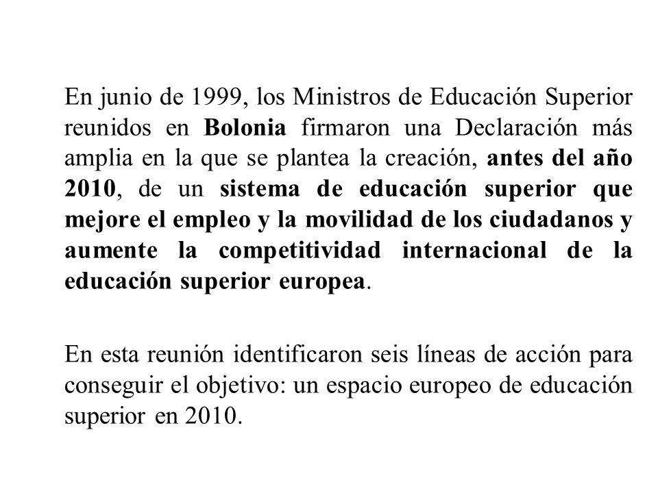 En junio de 1999, los Ministros de Educación Superior reunidos en Bolonia firmaron una Declaración más amplia en la que se plantea la creación, antes del año 2010, de un sistema de educación superior que mejore el empleo y la movilidad de los ciudadanos y aumente la competitividad internacional de la educación superior europea.