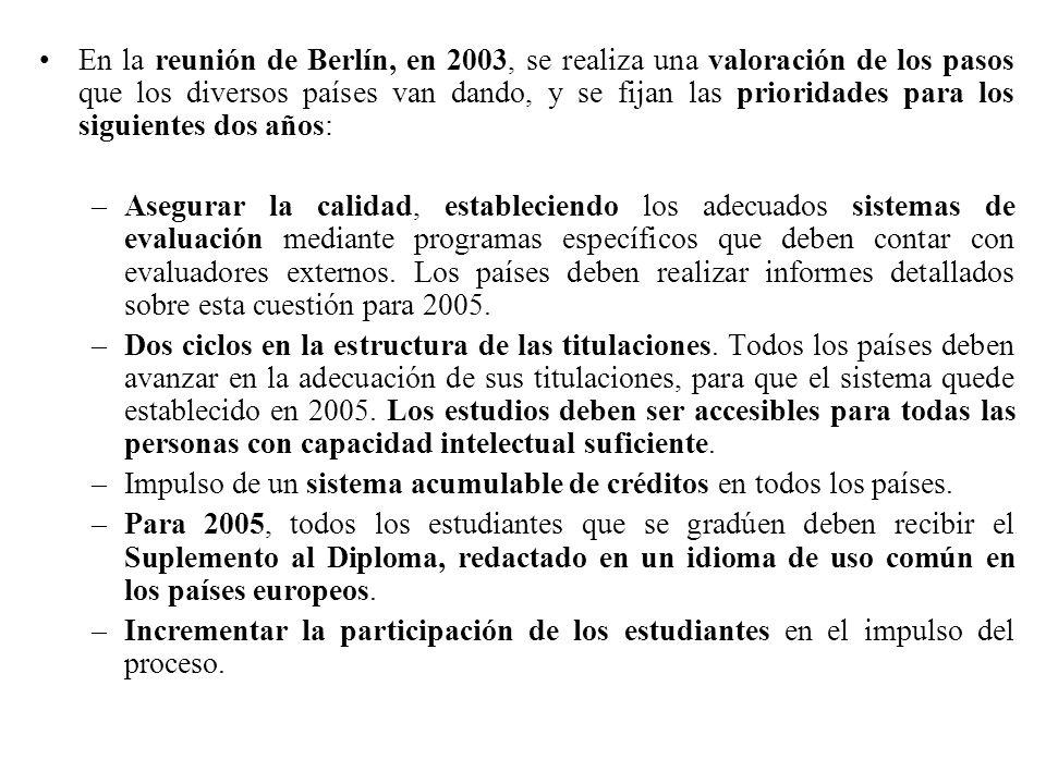 En la reunión de Berlín, en 2003, se realiza una valoración de los pasos que los diversos países van dando, y se fijan las prioridades para los siguientes dos años: –Asegurar la calidad, estableciendo los adecuados sistemas de evaluación mediante programas específicos que deben contar con evaluadores externos.