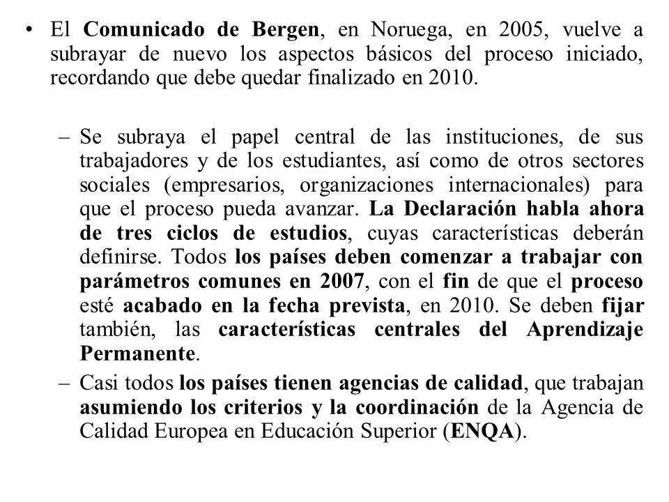 El Comunicado de Bergen, en Noruega, en 2005, vuelve a subrayar de nuevo los aspectos básicos del proceso iniciado, recordando que debe quedar finalizado en 2010.