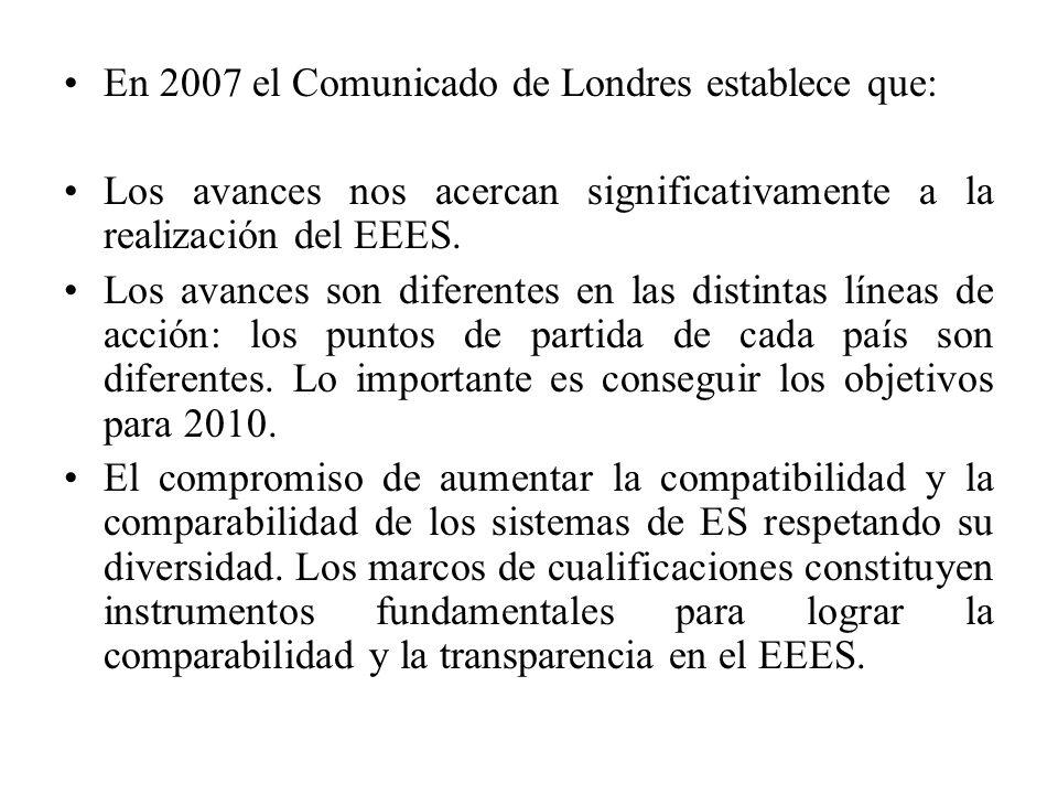 En 2007 el Comunicado de Londres establece que: Los avances nos acercan significativamente a la realización del EEES.