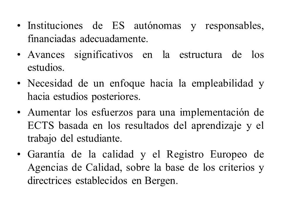 Instituciones de ES autónomas y responsables, financiadas adecuadamente.