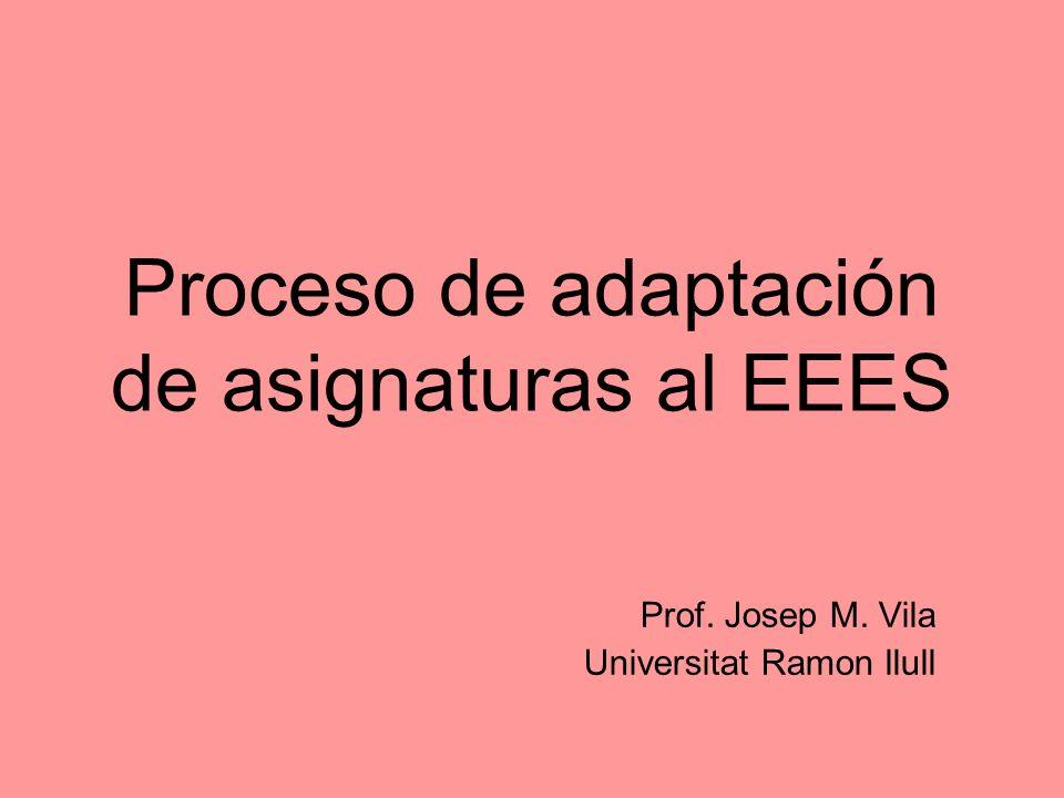 Proceso de adaptación de asignaturas al EEES Prof. Josep M. Vila Universitat Ramon llull