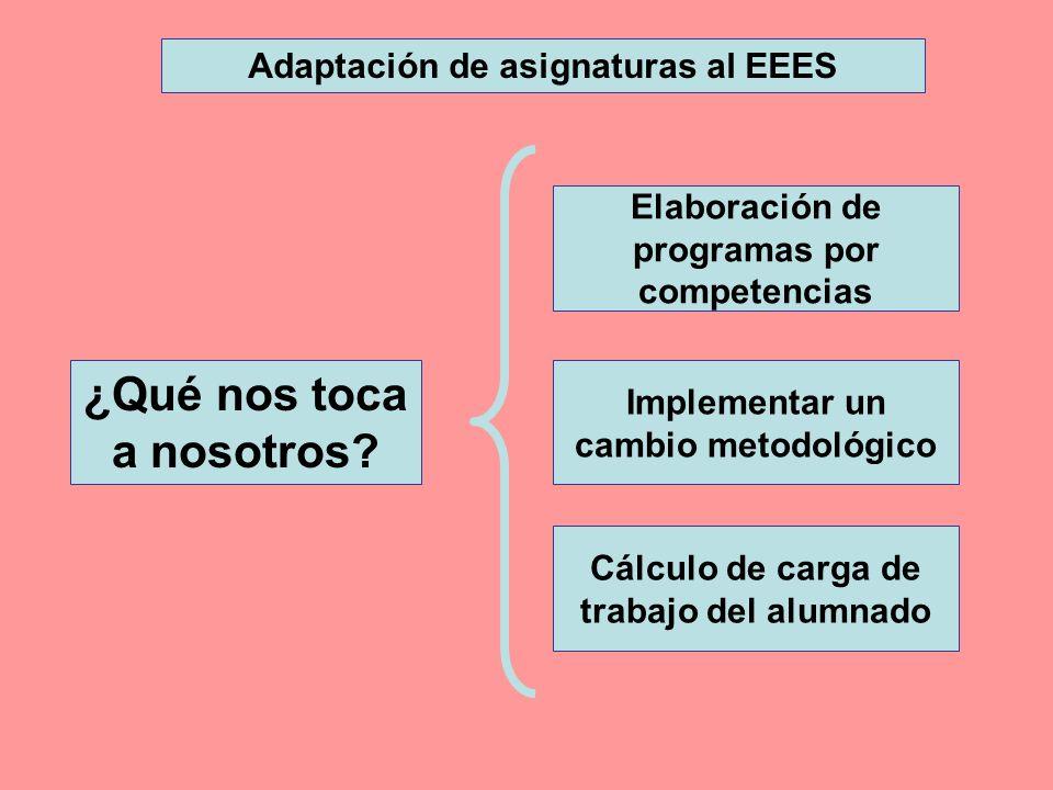Cálculo de carga de trabajo del alumnado Elaboración de programas por competencias Implementar un cambio metodológico Adaptación de asignaturas al EEE