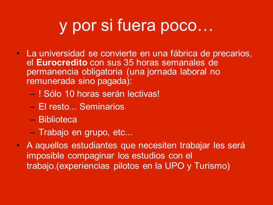 y por si fuera poco… La universidad se convierte en una fábrica de precarios, el Eurocredito con sus 35 horas semanales de permanencia obligatoria (una jornada laboral no remunerada sino pagada): –.