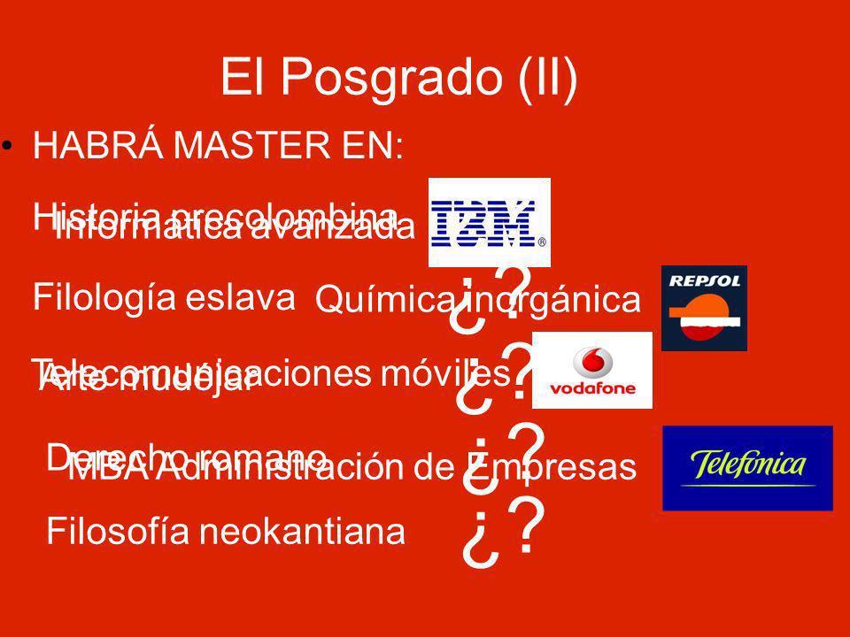 El Posgrado (II) HABRÁ MASTER EN: Informática avanzada Química inorgánica Telecomunicaciones móviles MBA Administración de Empresas Historia precolombina ¿.