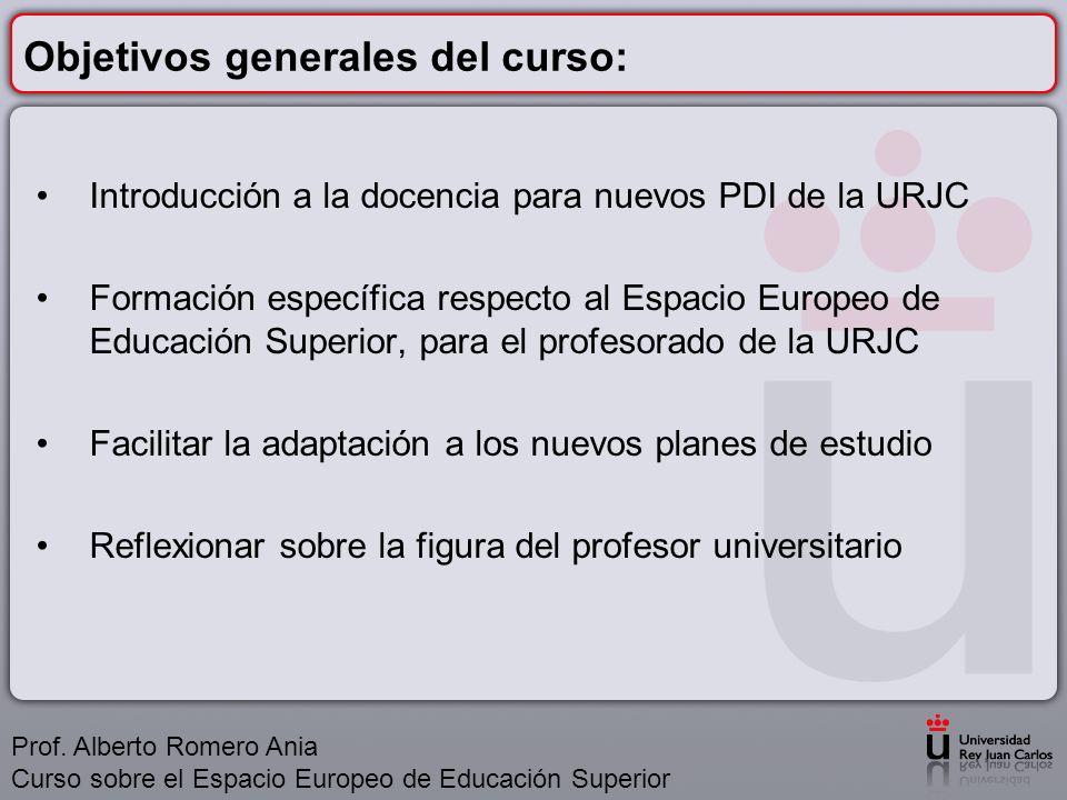 Objetivos concretos del curso: Conocer el papel que debe desempeñar el profesor universitario en el siglo XXI y el perfil del alumno universitario actual.