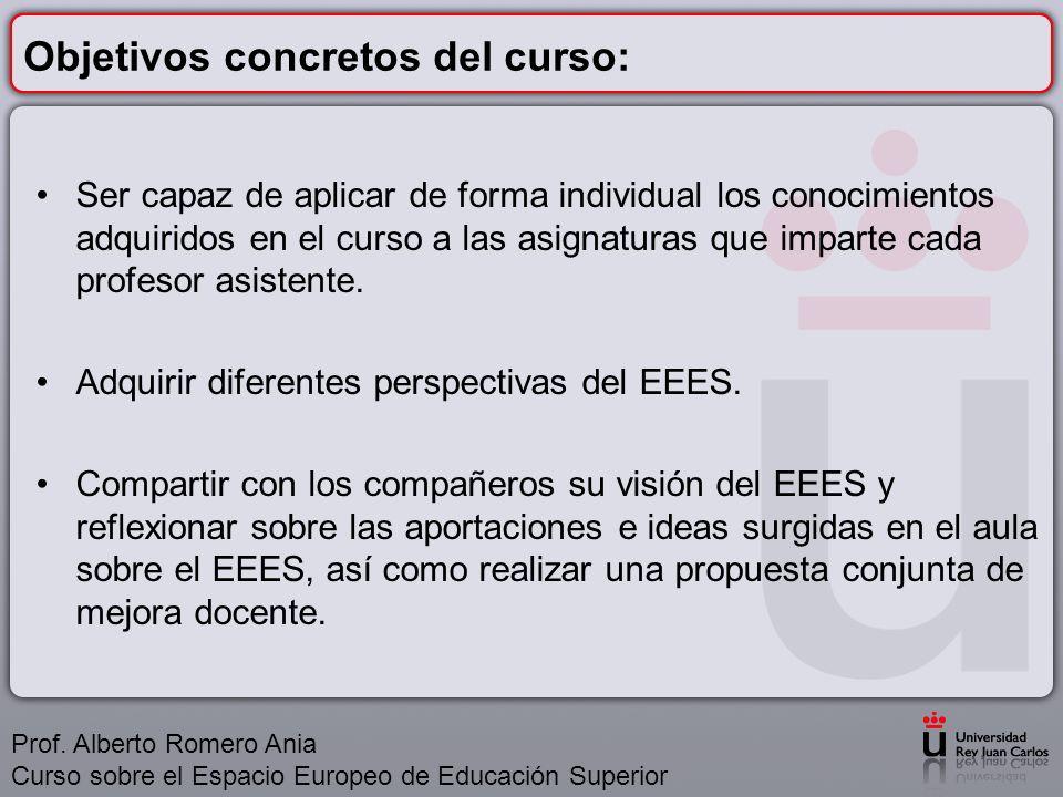 Contenidos: 1.El Espacio Europeo de Educación Superior.