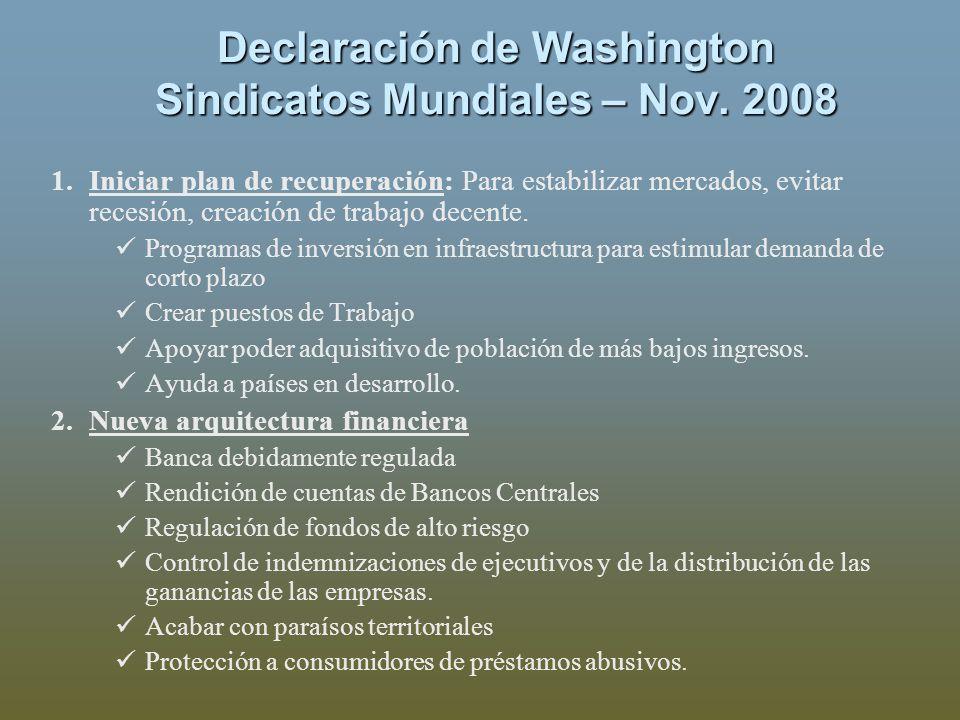 Declaración de Washington Sindicatos Mundiales – Nov. 2008 1.Iniciar plan de recuperación: Para estabilizar mercados, evitar recesión, creación de tra