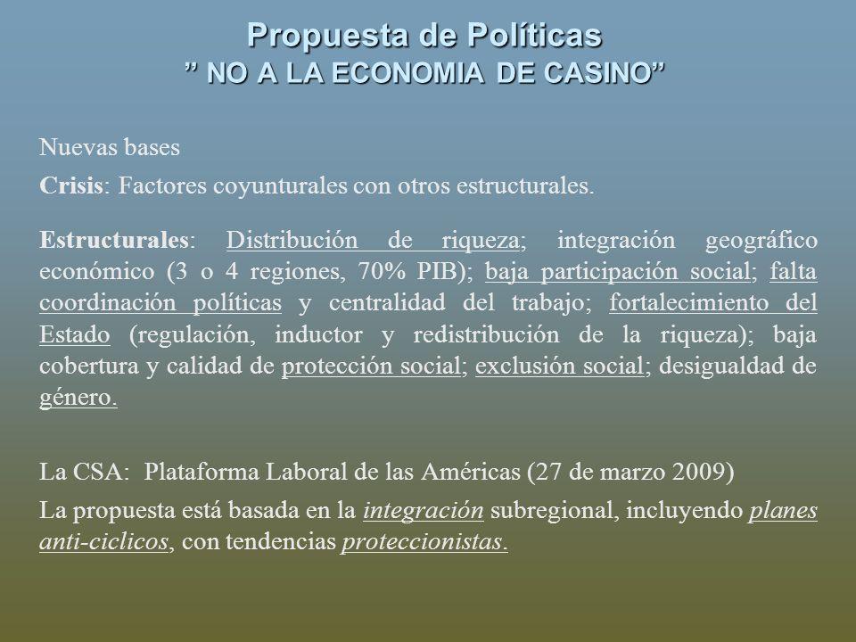 Propuesta de Políticas NO A LA ECONOMIA DE CASINO Nuevas bases Crisis: Factores coyunturales con otros estructurales. Estructurales: Distribución de r