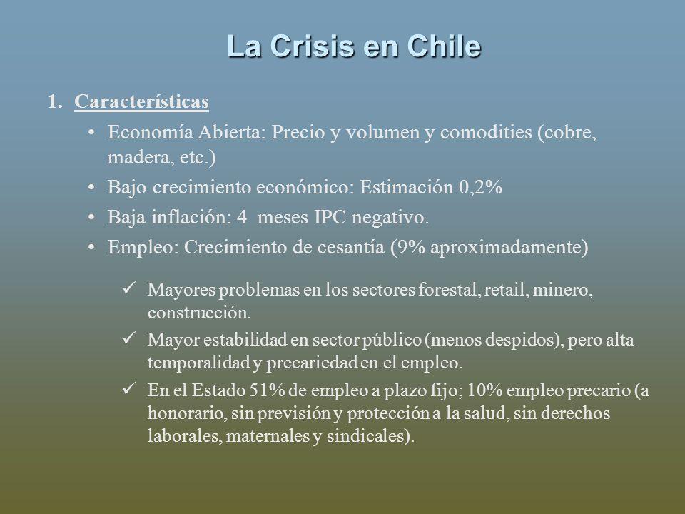 La Crisis en Chile 1.Características Economía Abierta: Precio y volumen y comodities (cobre, madera, etc.) Bajo crecimiento económico: Estimación 0,2% Baja inflación: 4 meses IPC negativo.