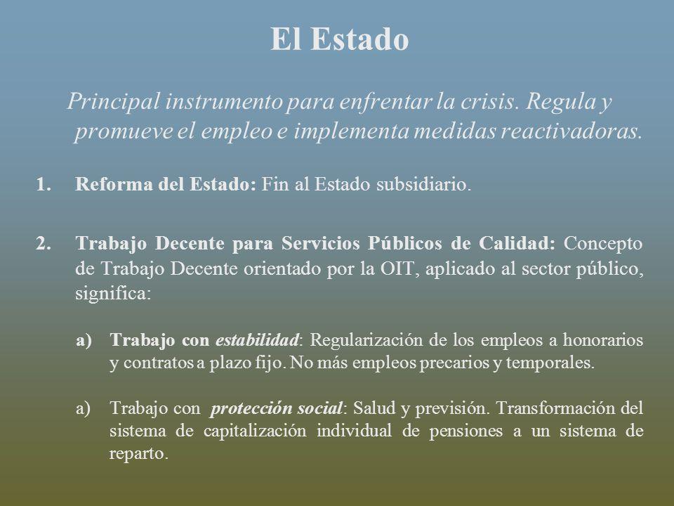 El Estado Principal instrumento para enfrentar la crisis. Regula y promueve el empleo e implementa medidas reactivadoras. 1.Reforma del Estado: Fin al