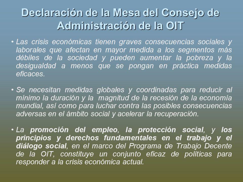 Declaración de la Mesa del Consejo de Administración de la OIT Las crisis económicas tienen graves consecuencias sociales y laborales que afectan en m
