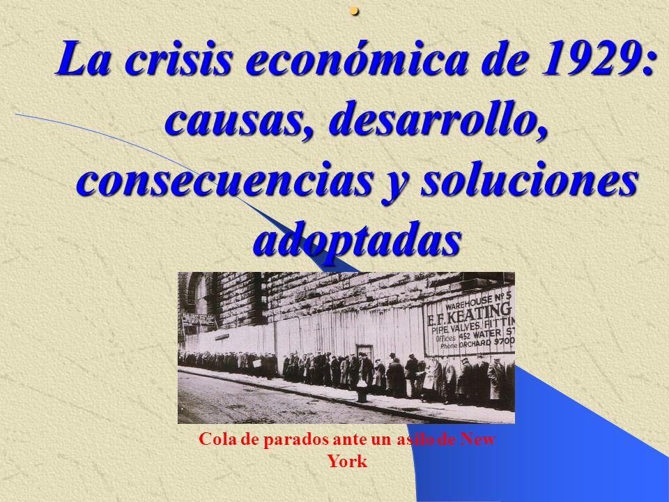 . La crisis económica de 1929: causas, desarrollo, consecuencias y soluciones adoptadas Cola de parados ante un asilo de New York