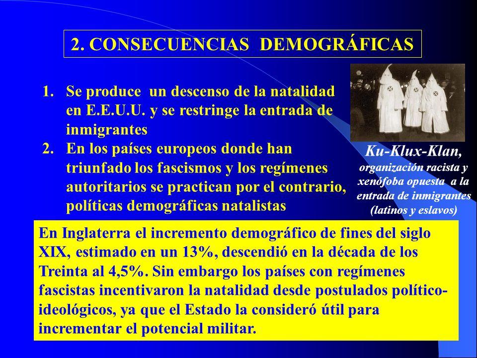 2. CONSECUENCIAS DEMOGRÁFICAS 1.Se produce un descenso de la natalidad en E.E.U.U. y se restringe la entrada de inmigrantes 2.En los países europeos d