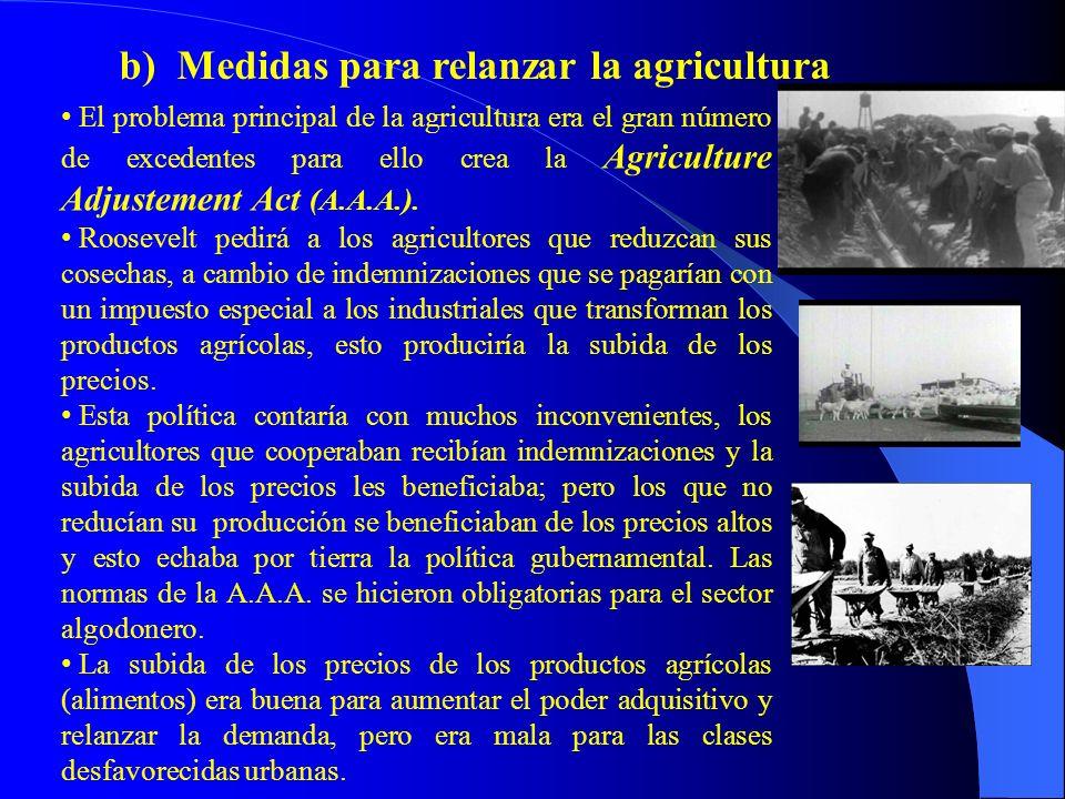 El problema principal de la agricultura era el gran número de excedentes para ello crea la Agriculture Adjustement Act (A.A.A.). Roosevelt pedirá a lo