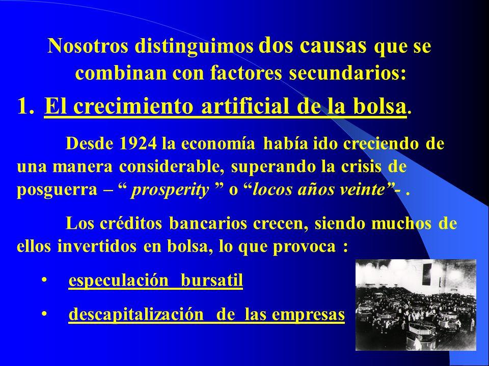 En el año 1928 se dan los primeros síntomas de la tendencia alcista : contracción de la industria de la construcción quiebra de algunas empresas retirada de algunos capitales invertidos en Europa, cuando el gobierno de E.E.U.U limita el crédito