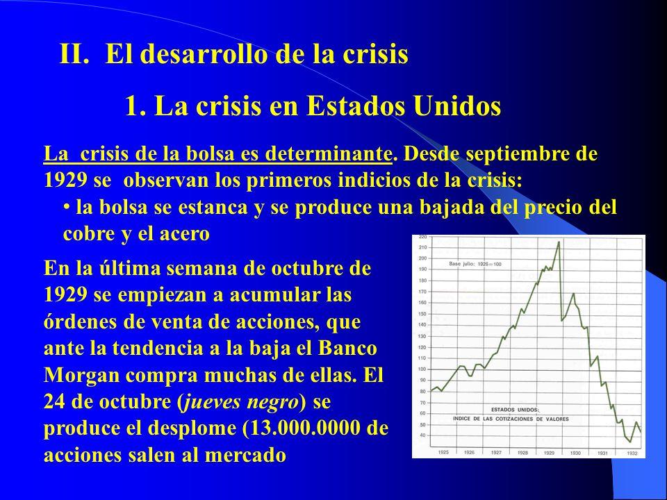 II. El desarrollo de la crisis 1. La crisis en Estados Unidos La crisis de la bolsa es determinante. Desde septiembre de 1929 se observan los primeros