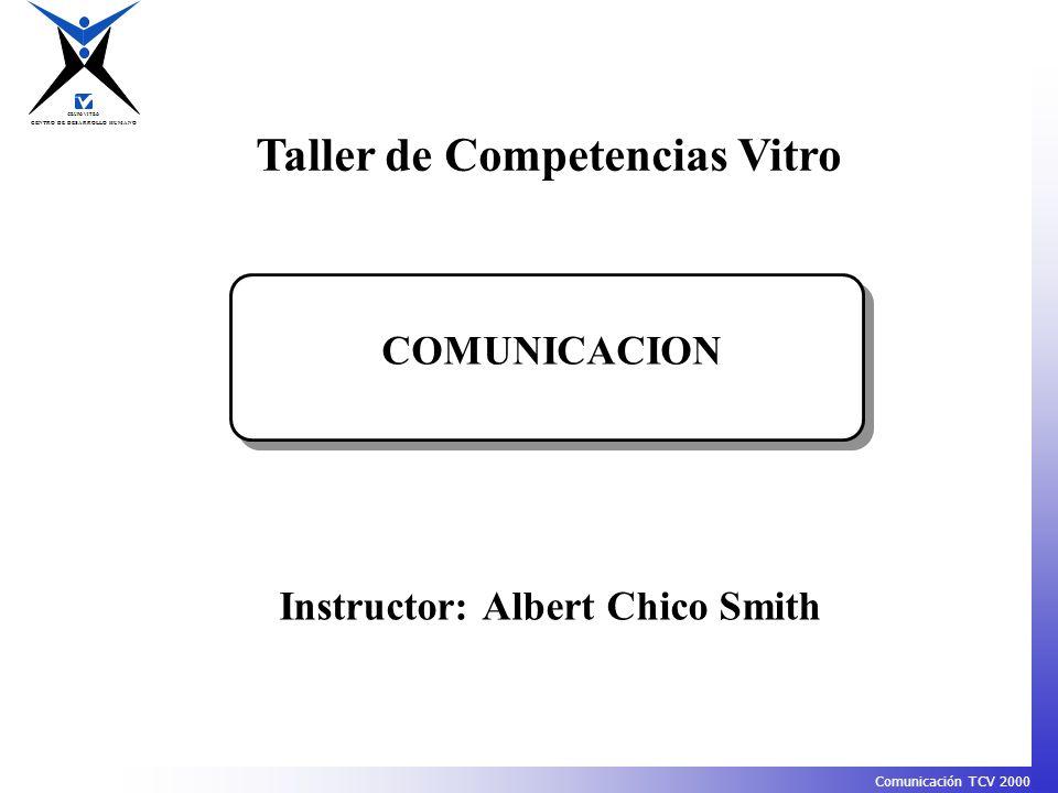 CENTRO DE DESARROLLO HUMANO GRUPO VITRO Comunicación TCV 2000 Taller de Competencias Vitro COMUNICACION Instructor: Albert Chico Smith
