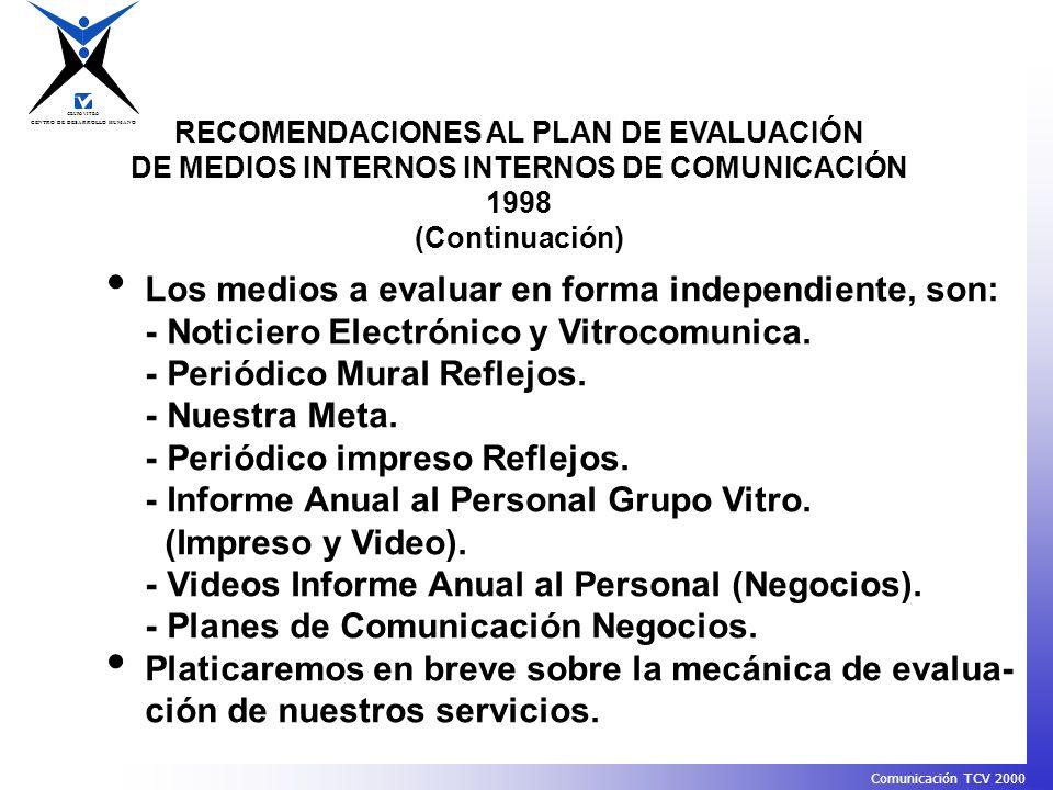 CENTRO DE DESARROLLO HUMANO GRUPO VITRO Comunicación TCV 2000 RECOMENDACIONES AL PLAN DE EVALUACIÓN DE MEDIOS INTERNOS INTERNOS DE COMUNICACIÓN 1998 (