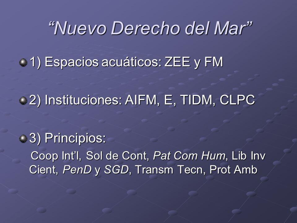 Nuevo Derecho del Mar 1) Espacios acuáticos: ZEE y FM 2) Instituciones: AIFM, E, TIDM, CLPC 3) Principios: Coop Intl, Sol de Cont, Pat Com Hum, Lib In