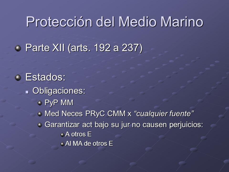 Protección del Medio Marino Parte XII (arts. 192 a 237) Parte XII (arts. 192 a 237) Estados: Estados: Obligaciones: Obligaciones: PyP MM PyP MM Med Ne