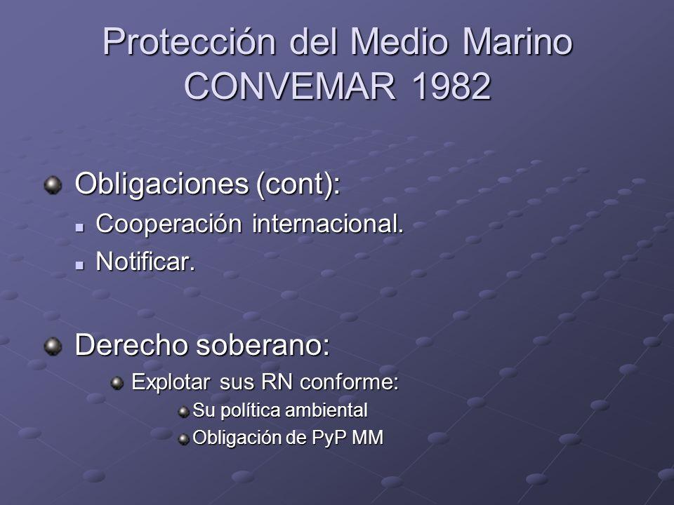 Protección del Medio Marino CONVEMAR 1982 Obligaciones (cont): Obligaciones (cont): Cooperación internacional. Cooperación internacional. Notificar. N