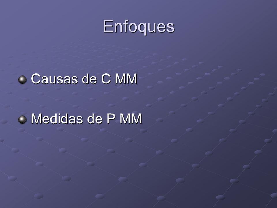 Enfoques Causas de C MM Causas de C MM Medidas de P MM Medidas de P MM