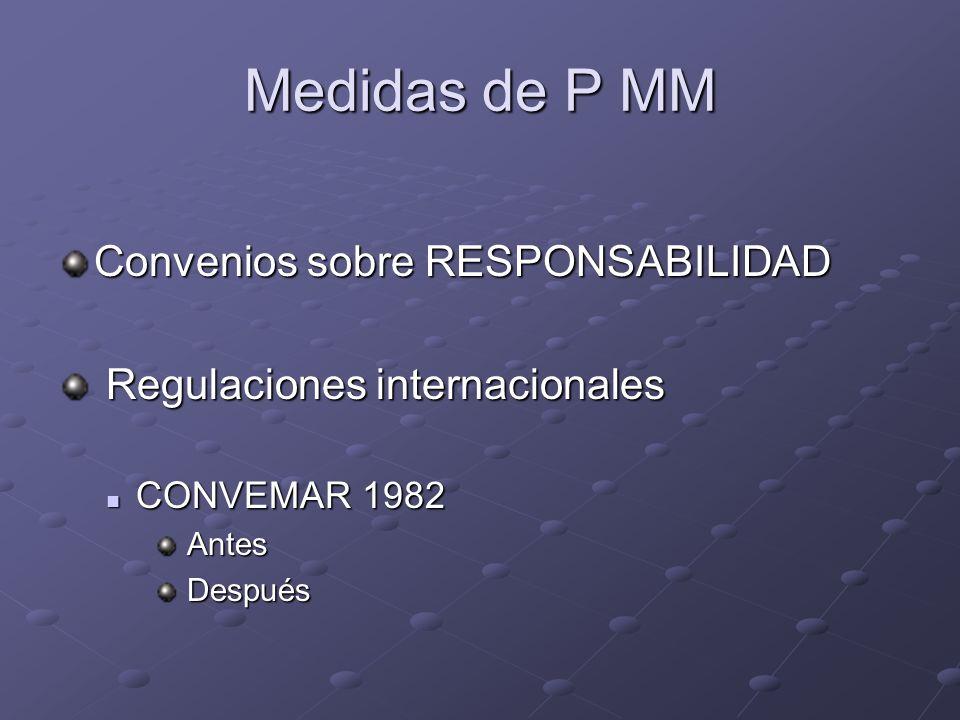 Medidas de P MM Convenios sobre RESPONSABILIDAD Regulaciones internacionales Regulaciones internacionales CONVEMAR 1982 CONVEMAR 1982 Antes Antes Desp