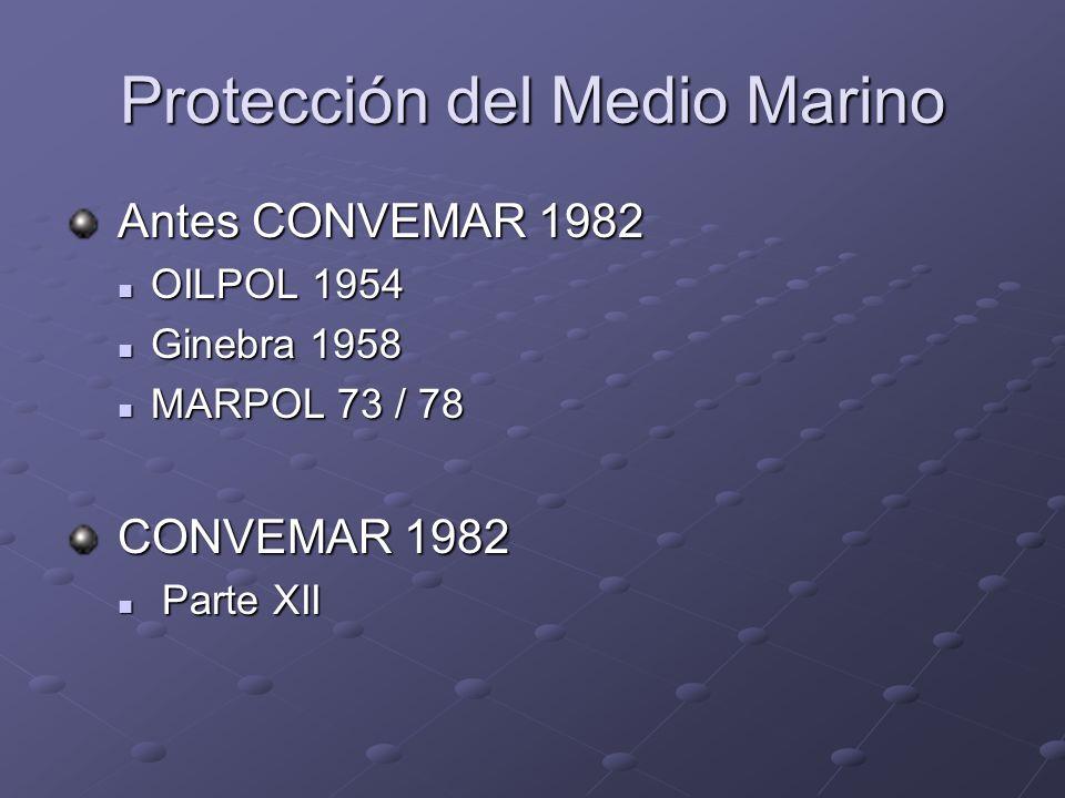 Protección del Medio Marino Antes CONVEMAR 1982 Antes CONVEMAR 1982 OILPOL 1954 OILPOL 1954 Ginebra 1958 Ginebra 1958 MARPOL 73 / 78 MARPOL 73 / 78 CO