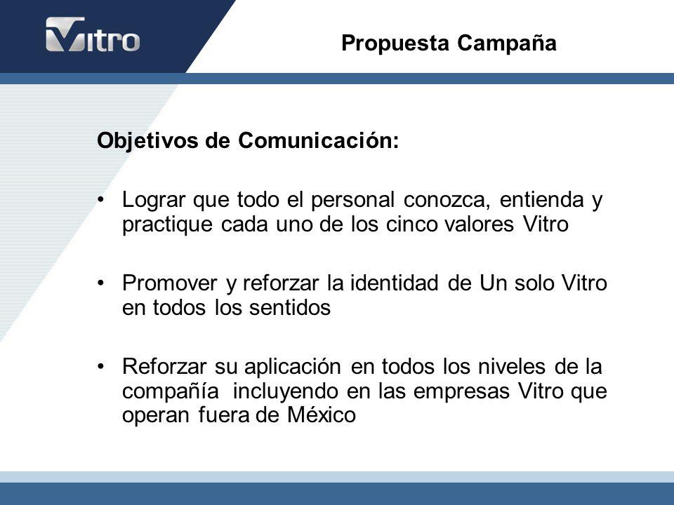 Propuesta Campaña Objetivos de Comunicación: Lograr que todo el personal conozca, entienda y practique cada uno de los cinco valores Vitro Promover y