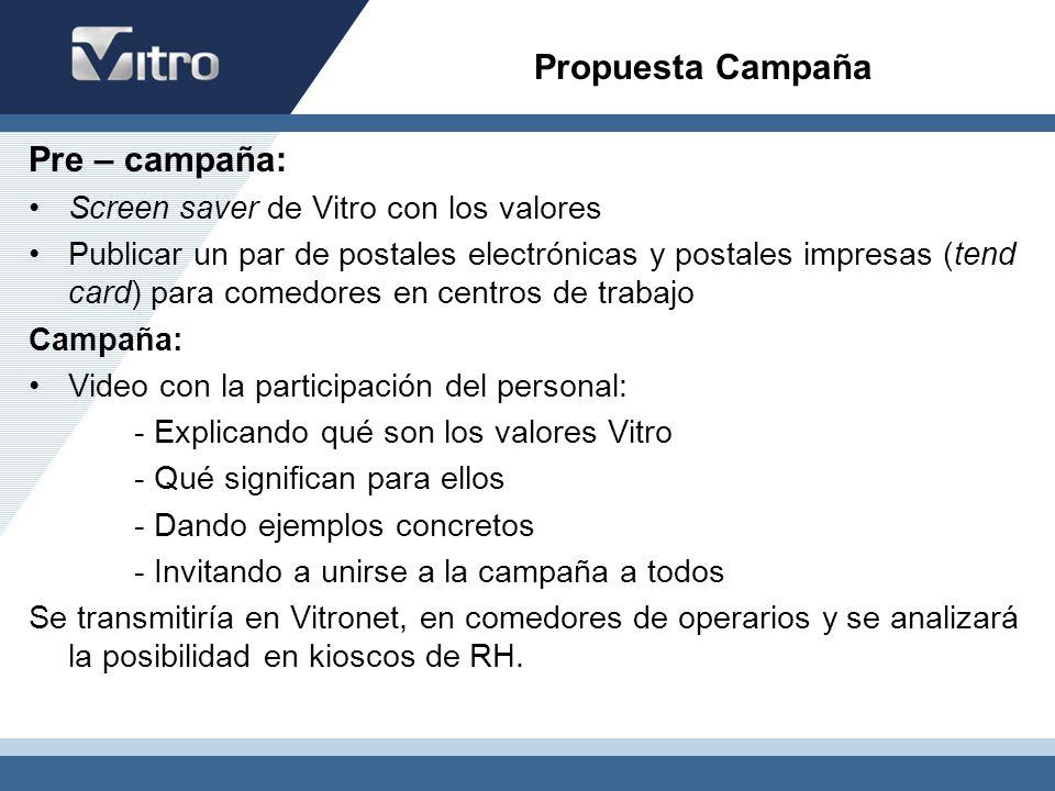 Pre – campaña: Screen saver de Vitro con los valores Publicar un par de postales electrónicas y postales impresas (tend card) para comedores en centro