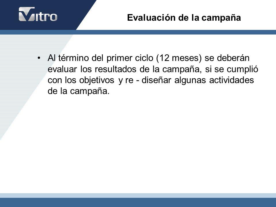 Evaluación de la campaña Al término del primer ciclo (12 meses) se deberán evaluar los resultados de la campaña, si se cumplió con los objetivos y re
