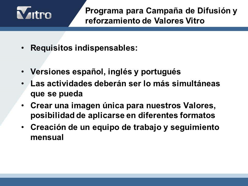 Requisitos indispensables: Versiones español, inglés y portugués Las actividades deberán ser lo más simultáneas que se pueda Crear una imagen única pa